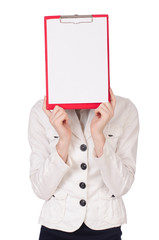 Young student with binder on white