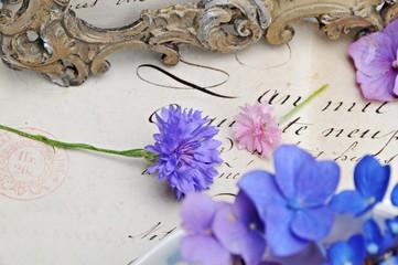 Wall Mural - Blüten auf altem Brief