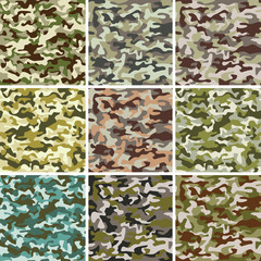Vector Set of Seamless Camouflage Pattern