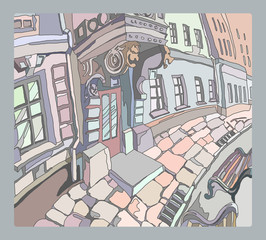 Freehand drawing of the street