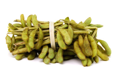 Green soybeans isolated on a white background