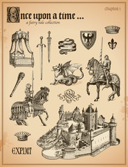 fairy tale collection with knights and medieval castle