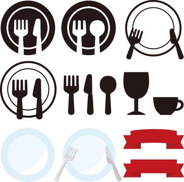 皿やナイフ、フォークのアイコン