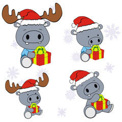 hippo xmas baby claus gift set