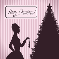 Vintage Christmas greeting with woman decorating tree