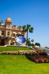 Casino facade and mirror dish monument in Monaco,