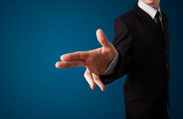 Businessman pressing imaginary button