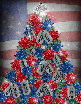 military Christmas tree with dog tags