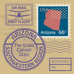 Stamp set with name of Arizona, vector