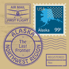 Stamp set with name of Alaska, vector