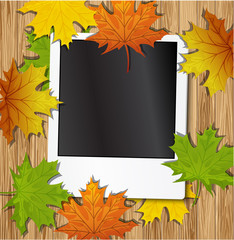 Photo frame with autumn leave