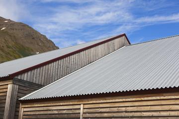 Warehouse metallic roofs.