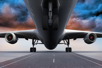 3D plane standing under colorful sky