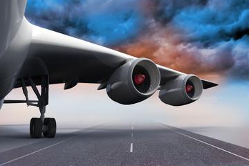 3D plane standing on runway