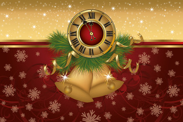 New Year banner with golden xmas bells and clock, vector