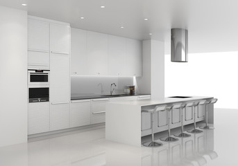 Contemporary minimal all white kitchen with stools
