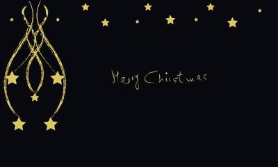 Merry Christmas con estrellas doradas
