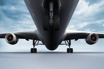 3D plane standing on white ground