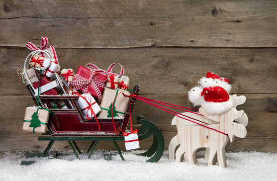 Weihnachten - Dekoration - Holz , Geschenke als Weihnachtskarte