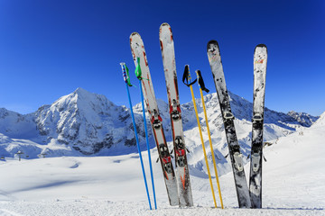 Wall Mural - Ski, winter season - ski equipments on ski run