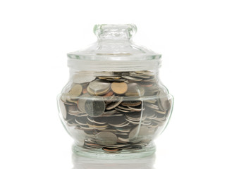 Bath coins in a glass jar with lid