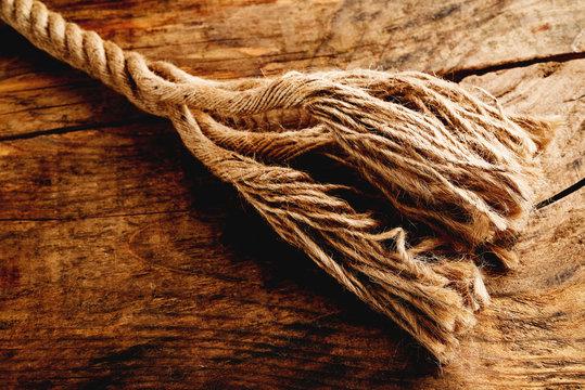 frayed hemp rope