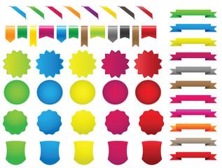 Obraz ribbons stickers colors set - fototapety do salonu