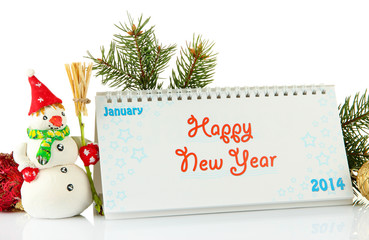 Calendar, New Year decor and fir tree, isolated on white
