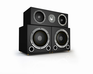 Group of speakers on white background
