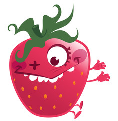 Cartoon pink strawberry fruit character making a crazy face