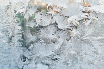 Frozen window, Christmas background