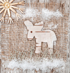 Christmas deer made of birch bark