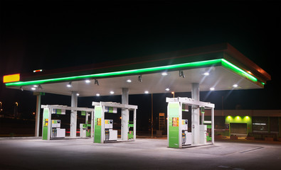 gas station by night Wall mural