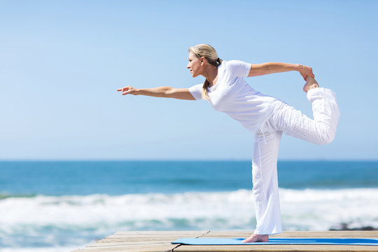 middle aged woman yoga exercise