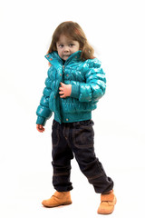 Маленькая девочка на белом фоне