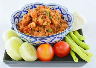 Thai food ,Nam Pik Aoung , chili sauce