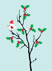 vector bird and Holly flowers
