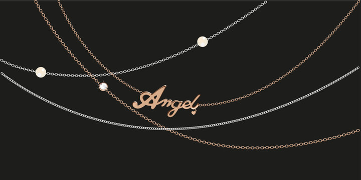 Different golden, silver necklace with golden angle pendant.