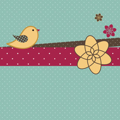 Scrapbook Floral Background With A Bird