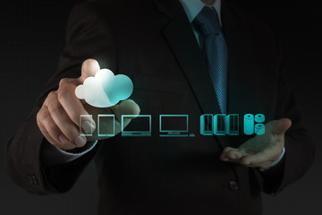 Wall Mural - Businessman working with a Cloud Computing diagram
