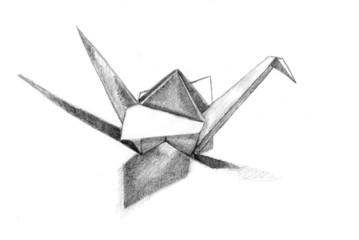 Paper cranes sketch