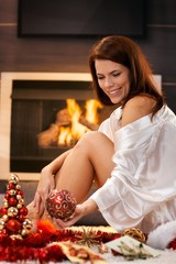 Happy woman with christmas decoration