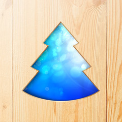 Christmas tree carved from wood