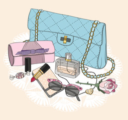 Fashion essentials. Background with bag, sunglasses, shoes