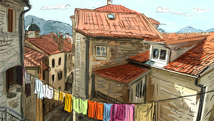 Street in Roma - illustration