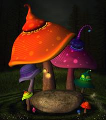 Wall Mural - Wonderland series - Wonderland mushrooms