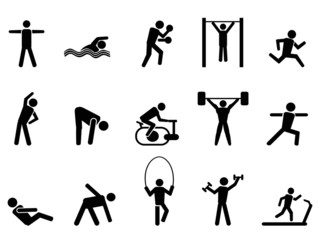 black fitness people icons set