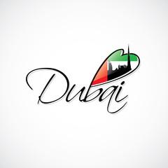 Dubai caption with flag and skyline of the City
