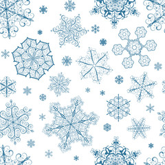 Christmas seamless pattern of dark blue snowflakes