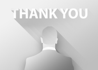Thank you with businessman 3d illustration flat design